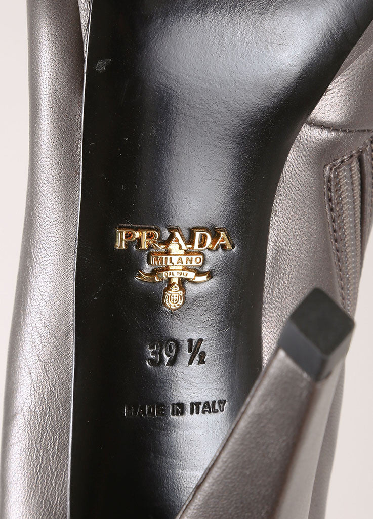 Prada Grey Metallic Leather Lace Up Square Toe Heeled Ankle Boots Brand