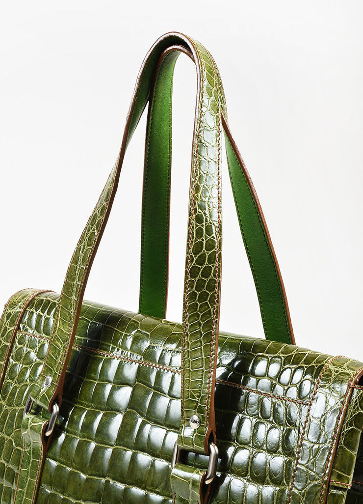 "Prada Green Genuine Crocodile ""Lucido Lock Flap"" Satchel Shoulder Bag Detail 2"