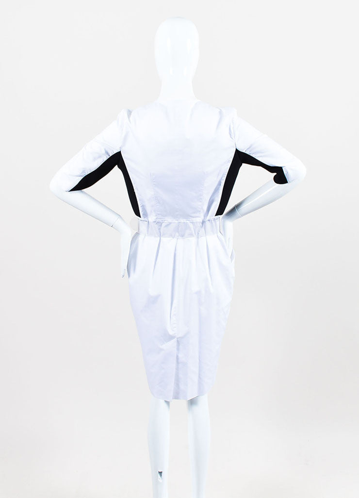 Black and White Proenza Schouler Cotton Color Block Zipped Belted Short Sleeve Dress Backview