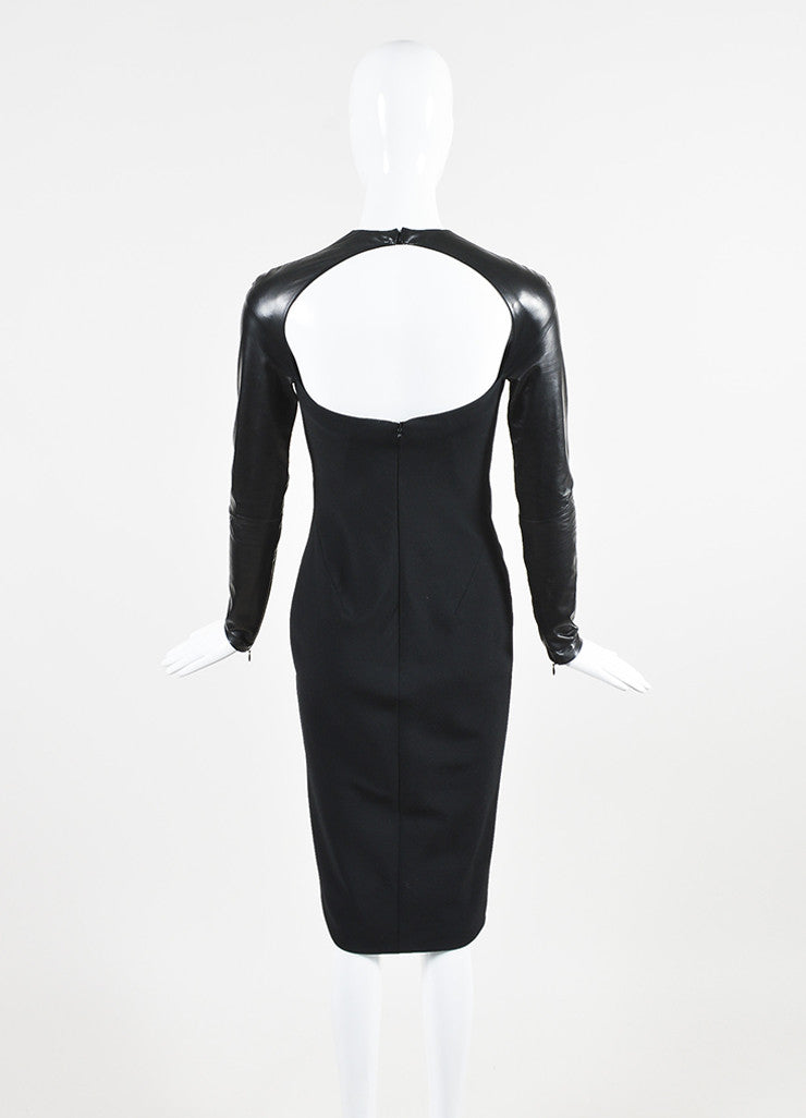 "Ralph Lauren Collection Black Wool Leather Midi ""Megan"" Dress Backview"
