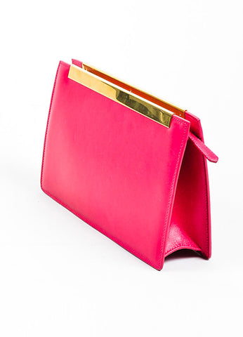 "Magenta Pink and Gold Toned Saint Laurent Leather ""Lutetia"" Box Clutch Bag Sideview"