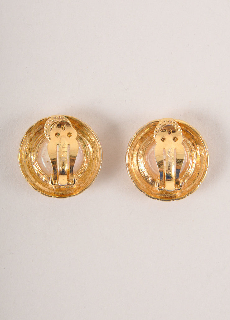 St. John Gold Toned and Faux Pearl Button Earrings Backview
