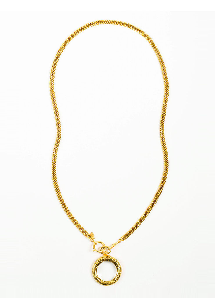 Gold Toned Chanel Magnifying Glass Pendant Necklace Frontview