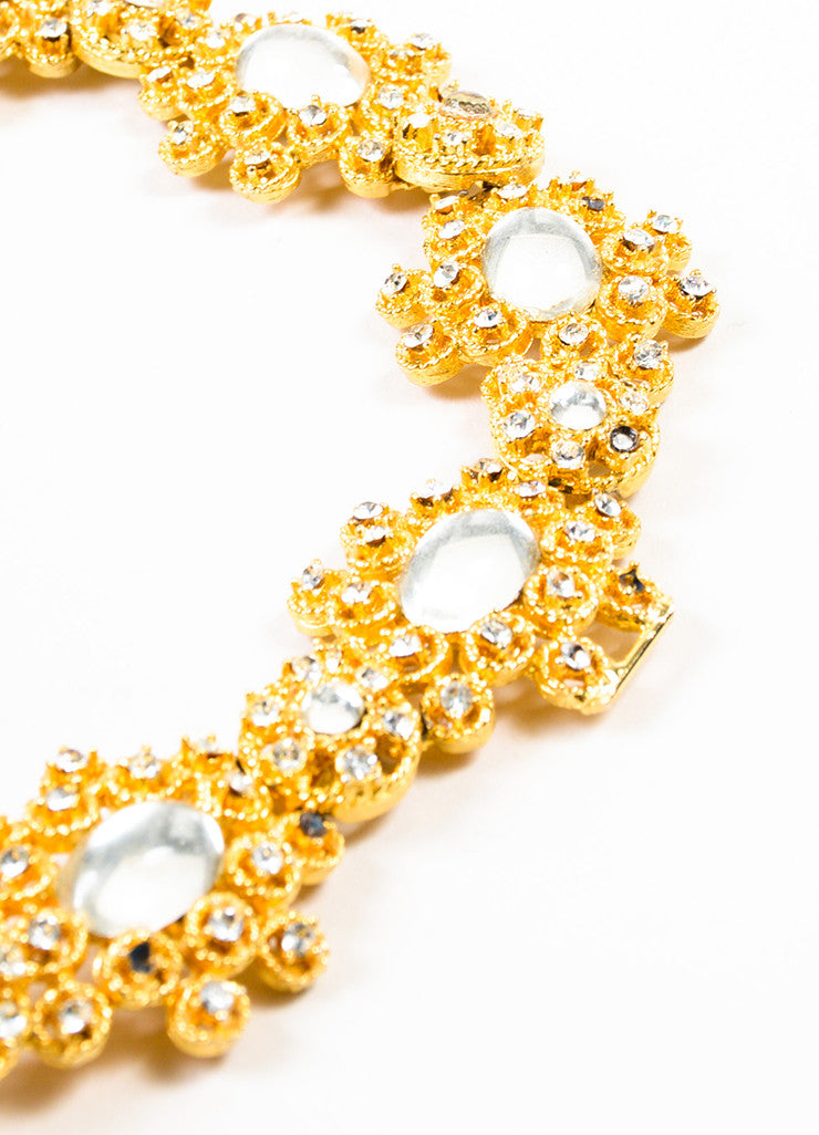 Givenchy Gold Toned Rhinestone Crystal Glass Stone Clustered Link Belt Detail 2
