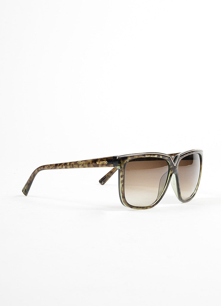 "Green, Brown, and Silver Toned Valentino Squared Oversized ""V05S"" Sunglasses Sideview"