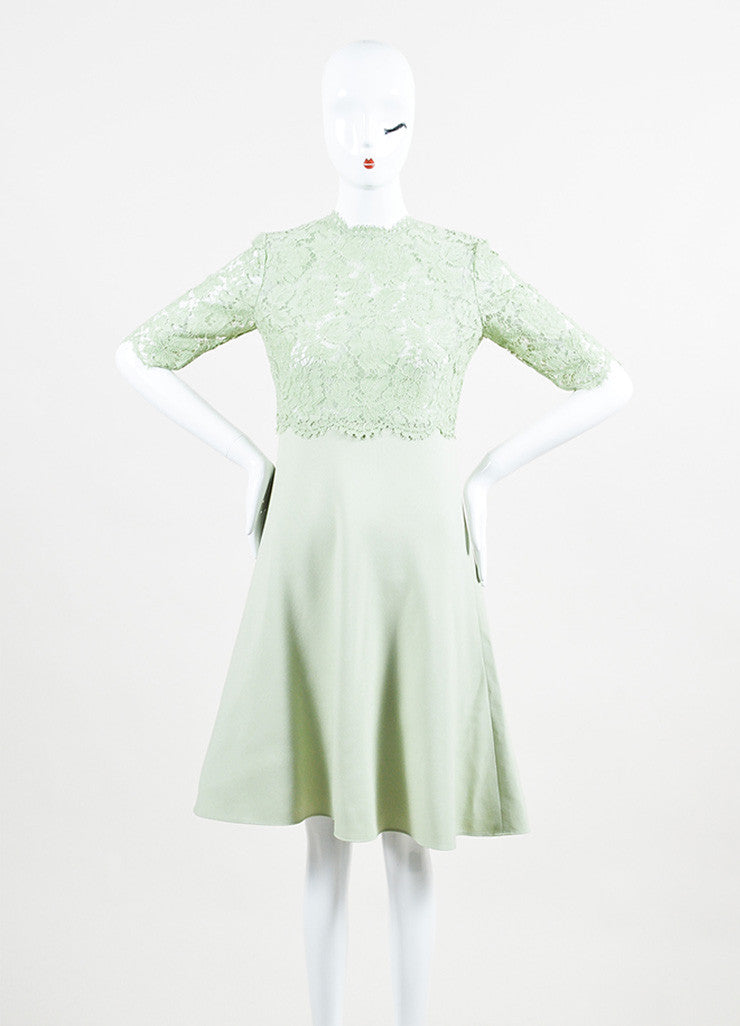 Valentino Mint Green Lace Mid Sleeve A-Line Dress Front 2