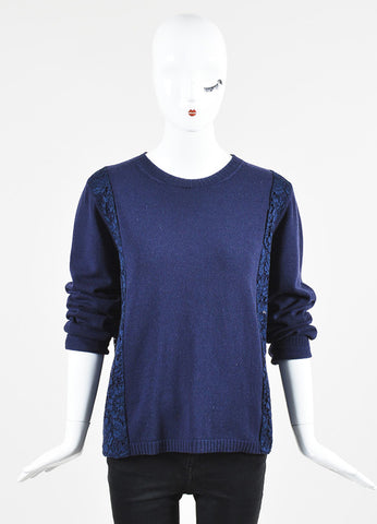 Navy Blue Valentino Wool and Cashmere Lace Panel Sweater Frontview