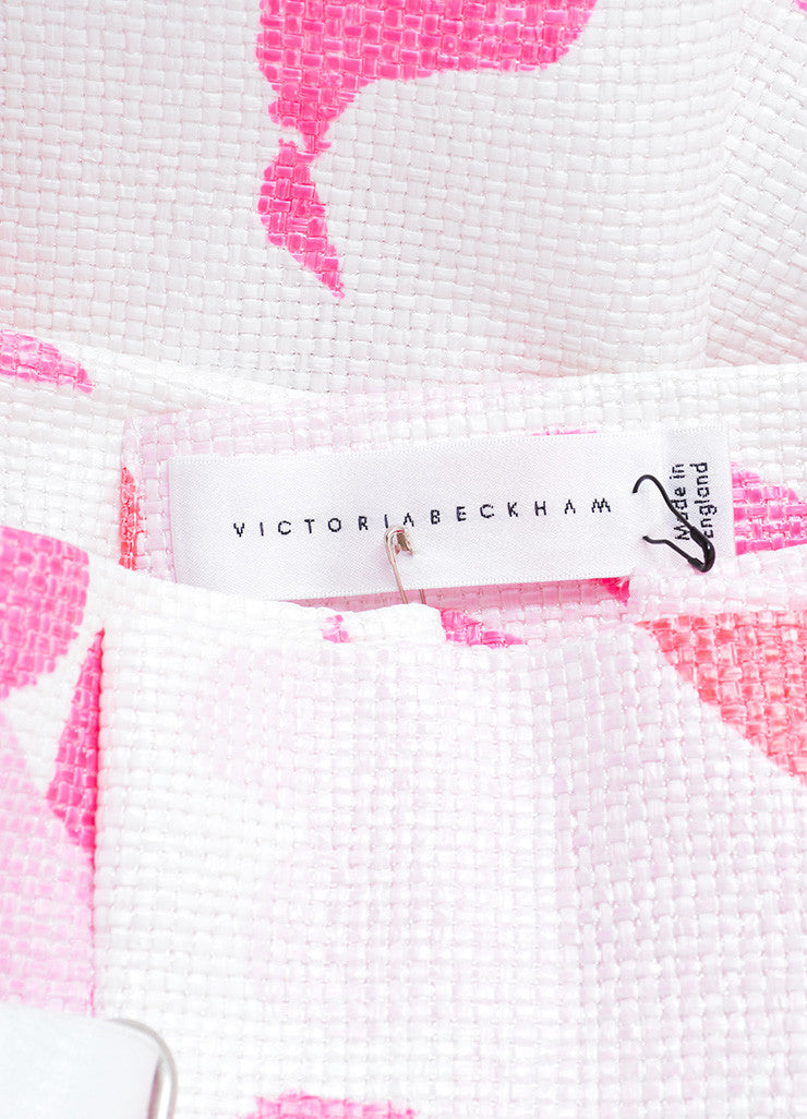 Victoria Beckham White and Pink Woven Raffia Floral Belted Skirt Brand