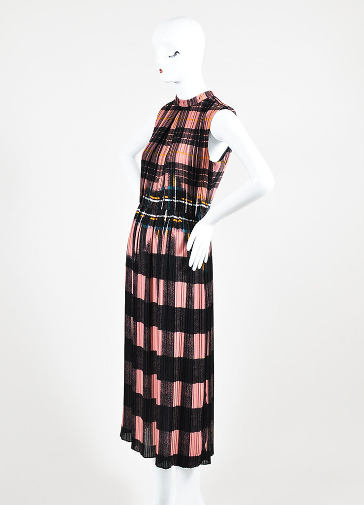 Victoria Victoria Beckham Pink and Black Plaid Pleated Dress Sideview