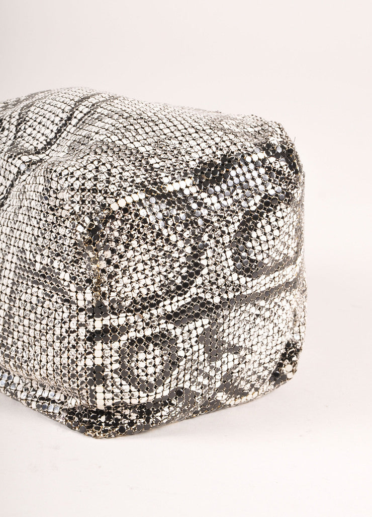 Whiting and Davis White and Black Mesh Snakeskin Print Chain Mini Pouch Shoulder Bag Bottom View