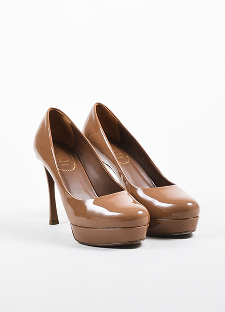 "Yves Saint Laurent Caramel Nude Patent Leather ""Gisele 80"" Pumps Frontview"