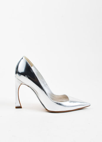 "Christian Dior Metallic Silver Leather Sculptural Heel ""Songe"" Pumps"