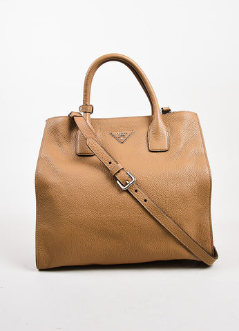 Prada Tan Pebbled Leather Double Handle Tote Bag Front