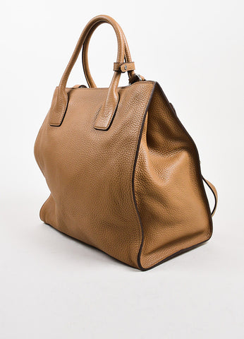 Prada Tan Pebbled Leather Double Handle Tote Bag Back