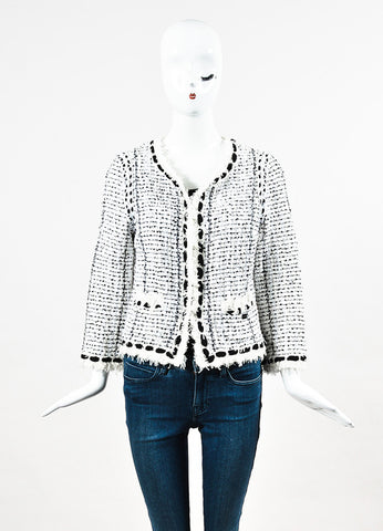 Chanel White and Black Boucle Tweed Sequin Embellished Jacket Frontview