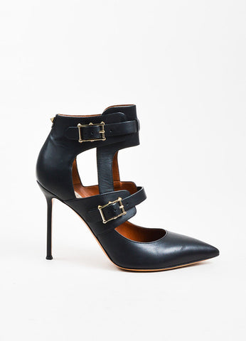 "Valentino Garavani ""Rockstud"" Black Leather Buckled Stiletto Pumps Sideview"