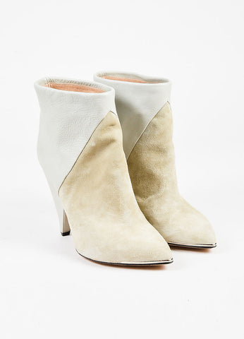 Iro Light Grey Suede Leather Cone Heel Pointed Ankle Boots frontview