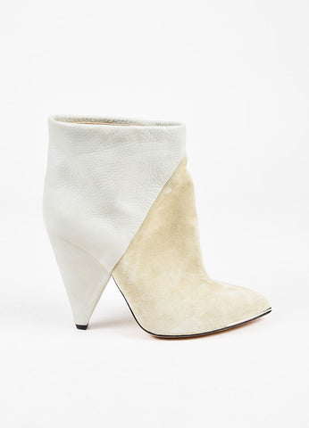 Iro Light Grey Suede Leather Cone Heel Pointed Ankle Boots Sideview