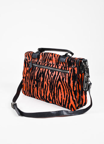 Proenza Schouler Black and Crimson Leather Wood Grain Print Medium PS1 Bag Sideview