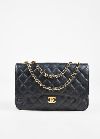 "Chanel Black Caviar Leather ""Classic Jumbo Single Flap"" Shoulder Bag Front"