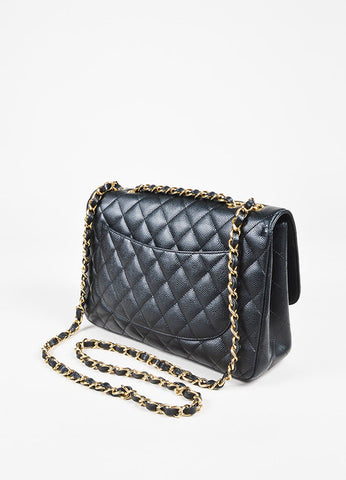 "Chanel Black Caviar Leather ""Classic Jumbo Single Flap"" Shoulder Bag Back"