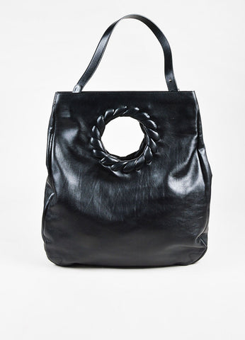 Balenciaga Black Leather Woven Circular Cutout Satchel Bag