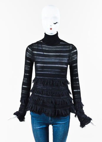 Alexander McQueen Black Mohair Trim Perforated Long Sleeve Top Front