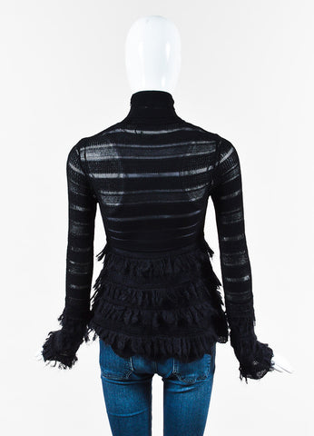 Alexander McQueen Black Mohair Trim Perforated Long Sleeve Top Back