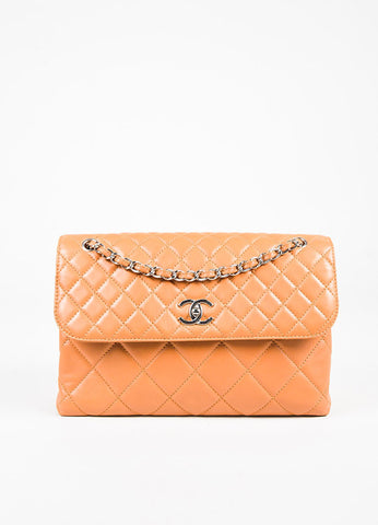 "Chanel Tan Lambskin Leather Quilted ""In The Business"" Chain Link Bag Front"