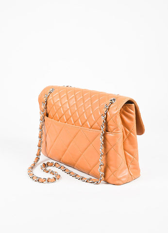 "Chanel Tan Lambskin Leather Quilted ""In The Business"" Chain Link Bag Back"