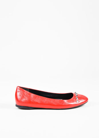 Balenciaga Red Leather Silver Toned Stud Ballet Flats Sideview