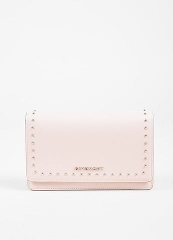 "Givenchy Pink Calf Leather Silver Stud "" 'Pandora"" Chain Wallet Clutch Bag Frontview"