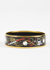 Hermes Black and Multicolor Gold Plated Enamel Rope Print Bangle Bracelet Frontview