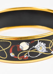 Hermes Black and Multicolor Gold Plated Enamel Rope Print Bangle Bracelet Detail