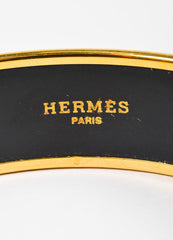 Hermes Black and Multicolor Gold Plated Enamel Rope Print Bangle Bracelet Brand