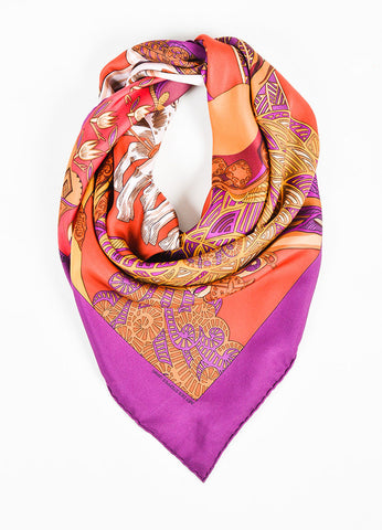 "Hermes ""Art Des Steppes"" Brown, Orange, and Purple Silk Twill Scarf Frontview"