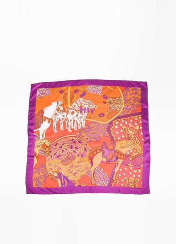 "Hermes ""Art Des Steppes"" Brown, Orange, and Purple Silk Twill Scarf Frontview 2"