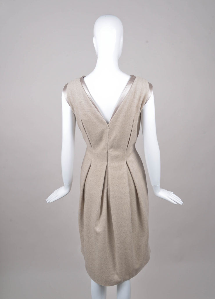 Grey Sleeveless Pleated V Neck Dress