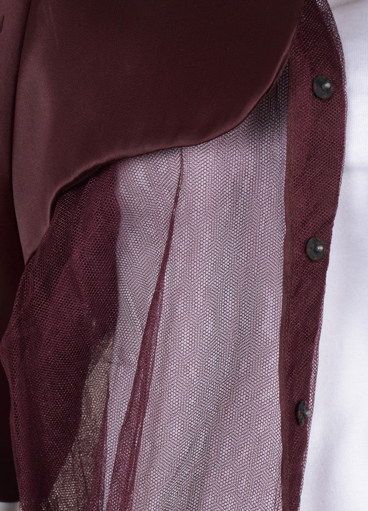 Burgundy Silk Short Sleeve Mesh Jacket