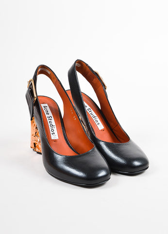 "Black Acne Studios Leather Copper Metallic ""Odelia"" Slingback Pumps Front"