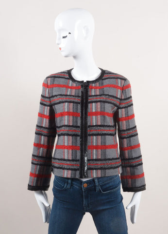 Akris Punto New With Tags Grey, Red, and Black Plaid Wool Zip Crop Sleeve Jacket Frontview