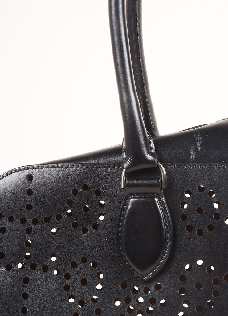 Alaia Black Laser Perforated Leather Rectangular Shoulder Bag Detail 2