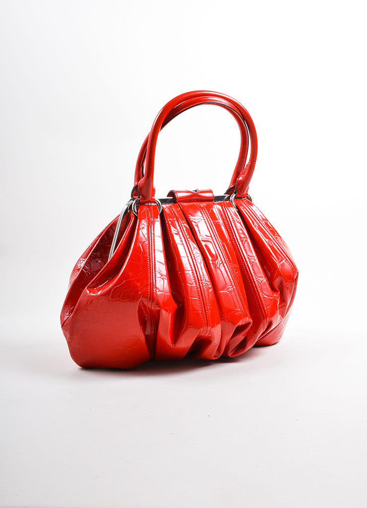 "Alexander McQueen Red Patent Leather ""Elvie"" Frame Handle Bag Backview"