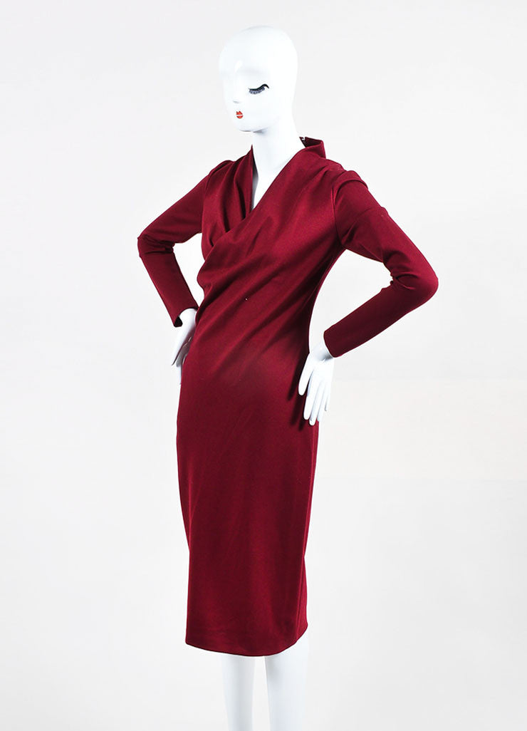 Maroon Alexander McQueen Jersey Knit Pleated V Neck Wrap Dress Sideview