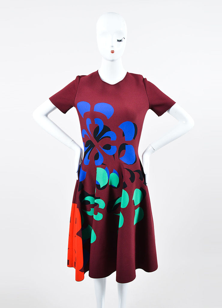 Maroon and Multicolor Alexander McQueen Stretch Knit Skater Dress Frontview