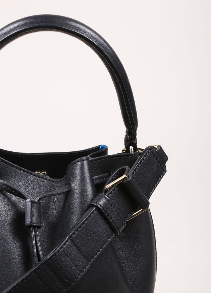 "Anya Hindmarch Black Leather ""Vaughan"" Drawstring Cross Body Bag Detail 2"