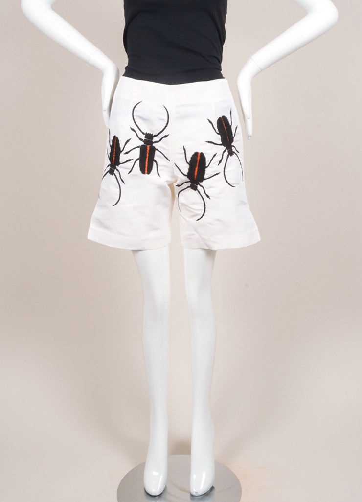 Azede Jean-Pierre New With Tags Cream Beetle Embroidered Silk Shorts Frontview