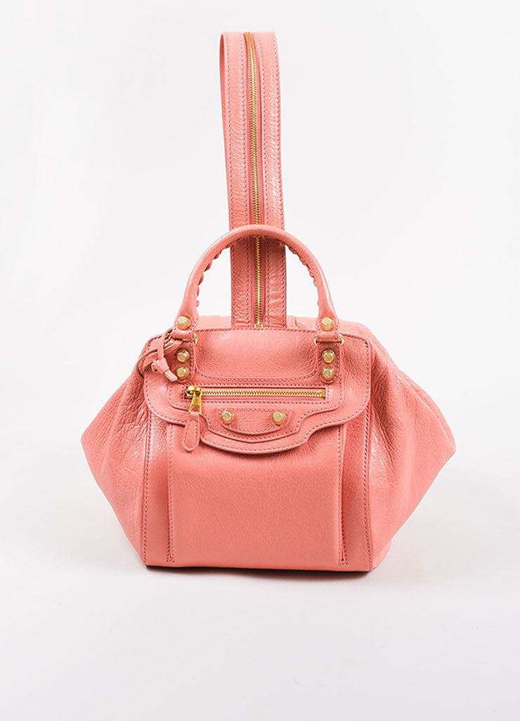 "¥éËBalenciaga Coral Pink Leather ""Giant 12 Traveller"" Convertible Backpack Frontview 2"