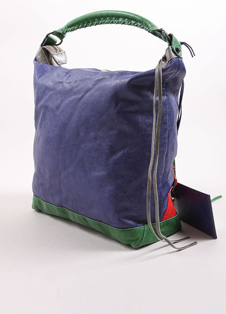 "Balenciaga Blue, Green, and Red Leather ""Motocross Tri Color Day Bag"" Bucket Tote Bag Backview"