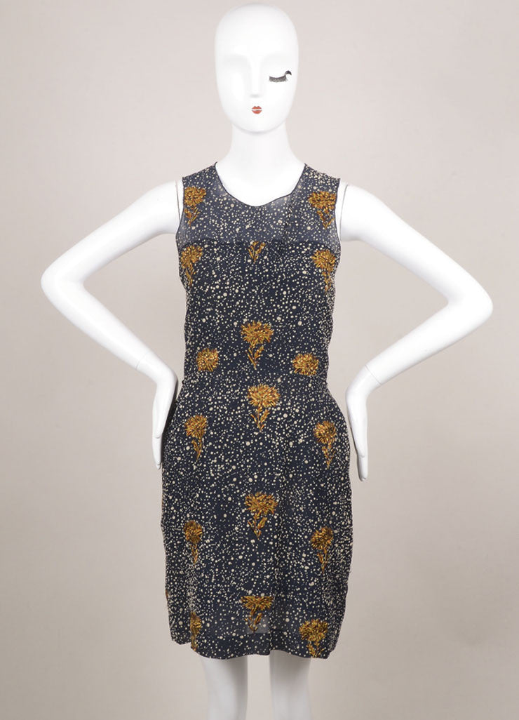 Balenciaga Navy Hammered Silk Blend Floral Embroidered Sleeveless Dress Frontview